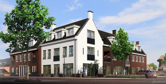 Een impressie van het te realiseren complex op de hoek Raadhuisstraat-Van Leuvenlaan.