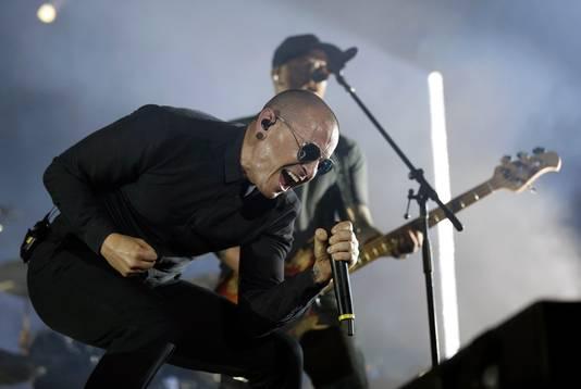 Chester Bennington van Linkin Park tijdens het Download Festival in Madrid afgelopen juni.