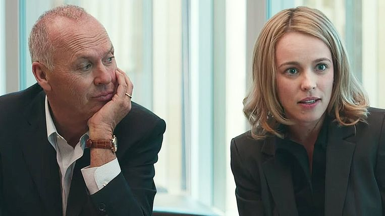 Michael Keaton en Rachel McAdams in Spotlight van Tom McCarthy. Beeld