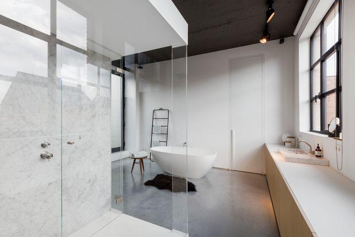 De ouderlijke badkamer met kastenwand van muur tot muur