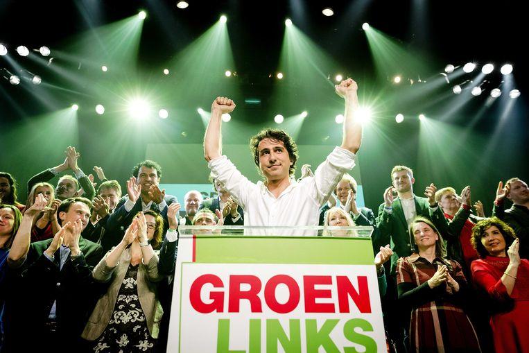 Jesse Klaver, de leider van GroenLinks, werd een van de grote overwinnaars. Beeld EPA