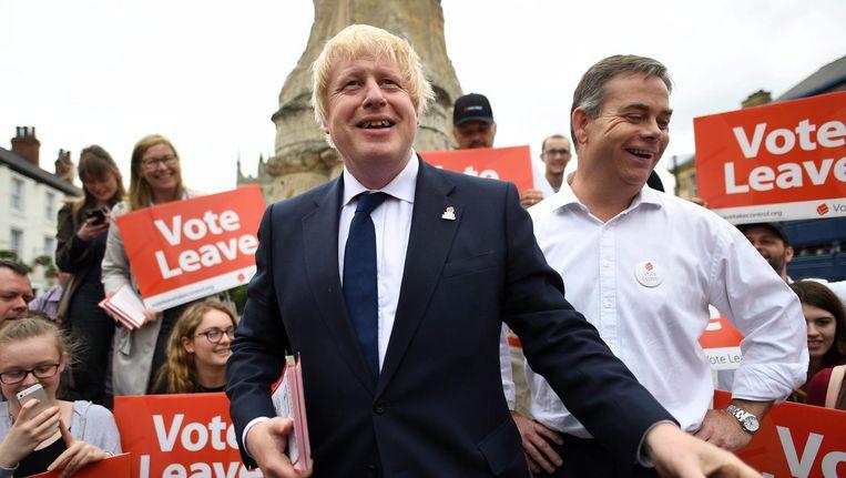 Boris Johnson tijdens het campagne voeren voor de Brexit Beeld epa