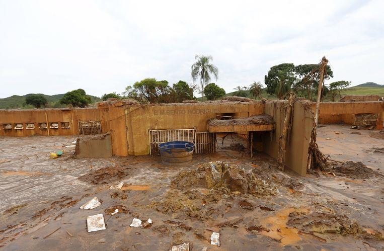 Van onder andere het lagere schooltje in Bento Rodrigues bleef na de modderstroom niet veel over. Beeld REUTERS