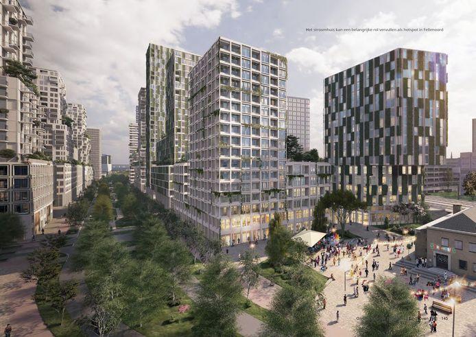 Een impressie uit de Ontwikkelvisie van hoe de Fellenoord in Eindhoven er in de toekomst uit zou kunnen komen te zien. Rechts het Stroomhuisje links de locaties waar de eerste projecten voor ontwikkeld worden, de hoek Boschdijk-Fellenoord-Montgomerylaan.