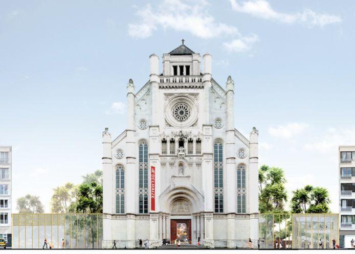 De gevel van de kerk (met de banner van Delhaize)