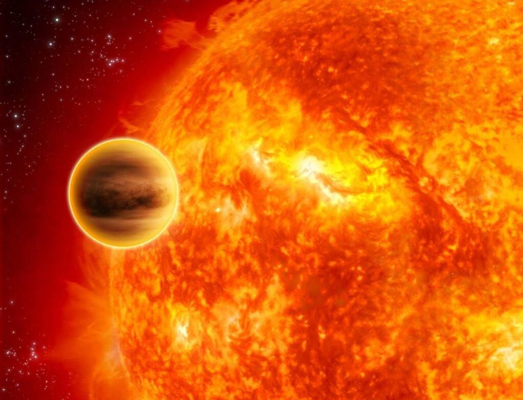Een simulatie van een exoplaneet die dicht rond zijn ster draait.