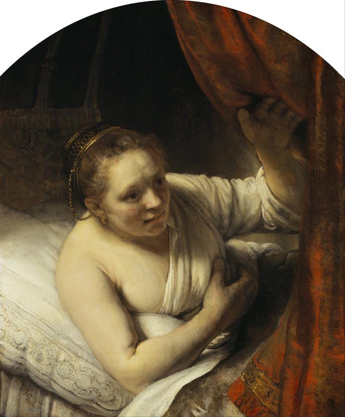 Schilderij van Rembrandt, met daarop vermoedelijk Geertje Dircx.