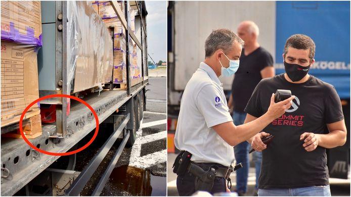 Omdat zijn vracht niet goed was vastgemaakt, moest een trucker (rechts) ter plaatse 1.000 euro boete betalen. Op zijn oplegger was een machine tijdens het transport aan het schuiven gegaan, één van de poten (rood omcirkeld) was zelfs al naast de laadvloer terechtgekomen.
