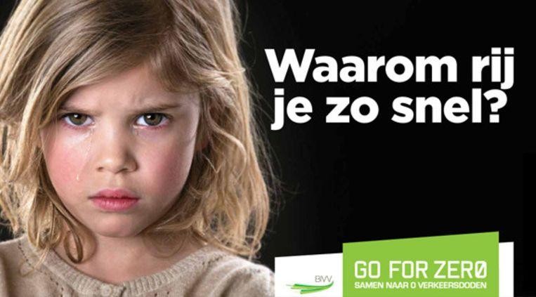 Verkeerscampagne tegen overdreven snelheid en het hoge aantal doden dat er valt in ons verkeer. Beeld BVV / Go For Zero