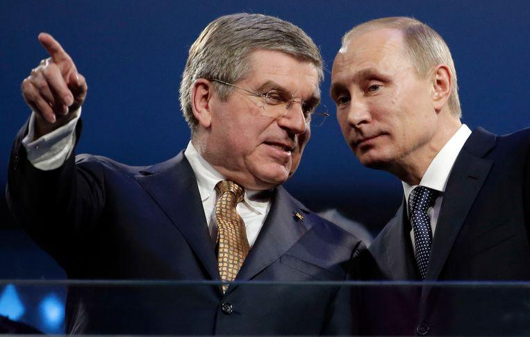 IOC-baas Bach en de Russische president Poetin. Beeld AP