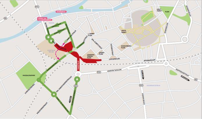 Het kaartje met de nieuwe verkeerssituatie op Appel