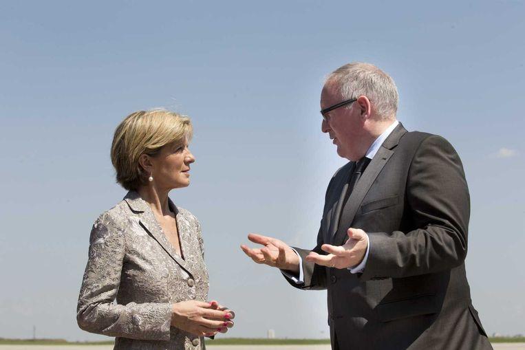 Minister Frans Timmermans van Buitenlandse Zaken en zijn Australische collega van Buitenlandse Zaken, Julie Bishop Beeld anp