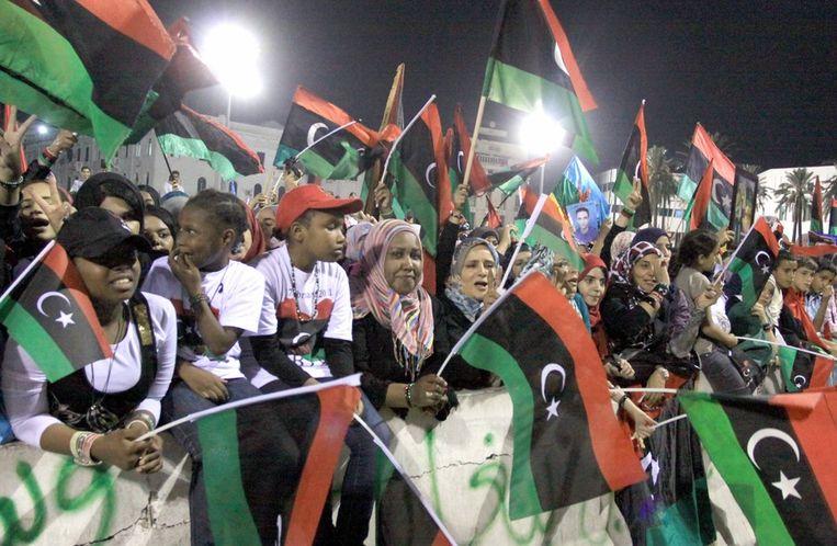 Feest in Tripoli na het nieuws van de dood van Kaddafi. Beeld epa