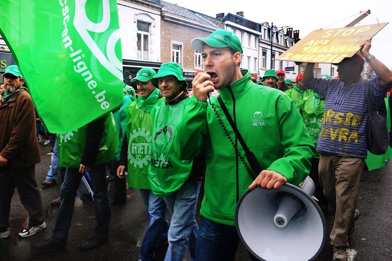 Een betoging voor meer jobzekerheid.  Beeld BELGA