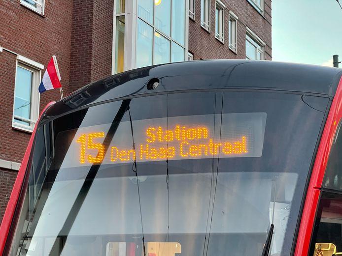 Een tram van HTM.