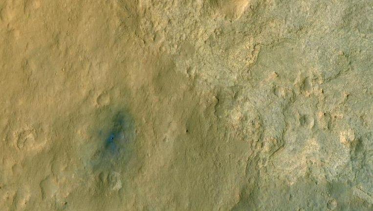 Curiosity gefotografeerd door de HiRISE-camera aan boord van de Mars Reconaissance Orbiter Beeld Nasa