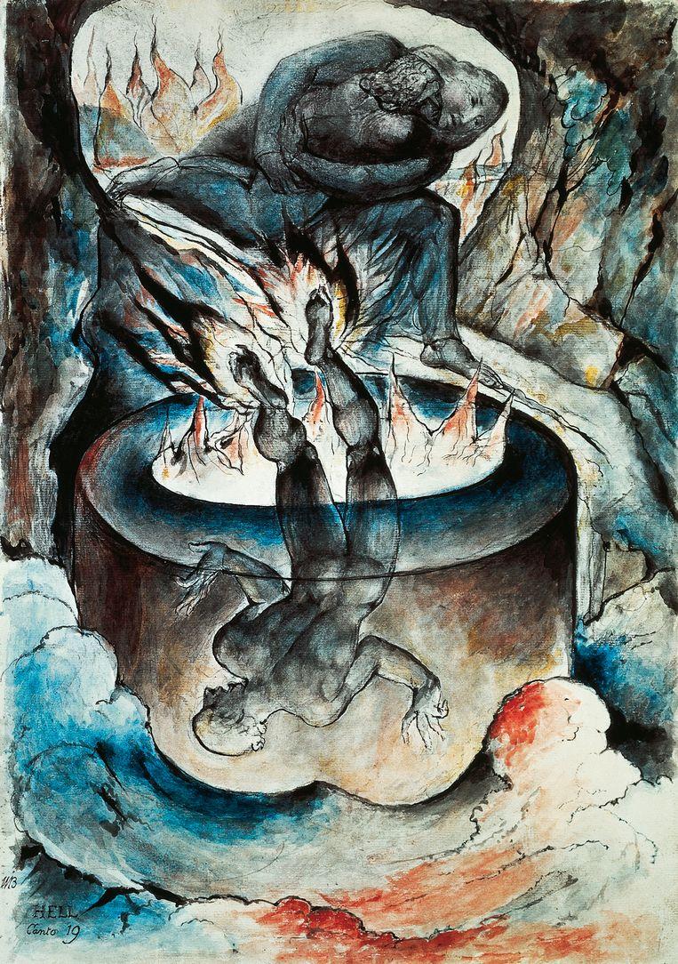 Illustratie van William Blake (1757-1827) bij Canto XIX uit De goddelijke komedie. Beeld Getty