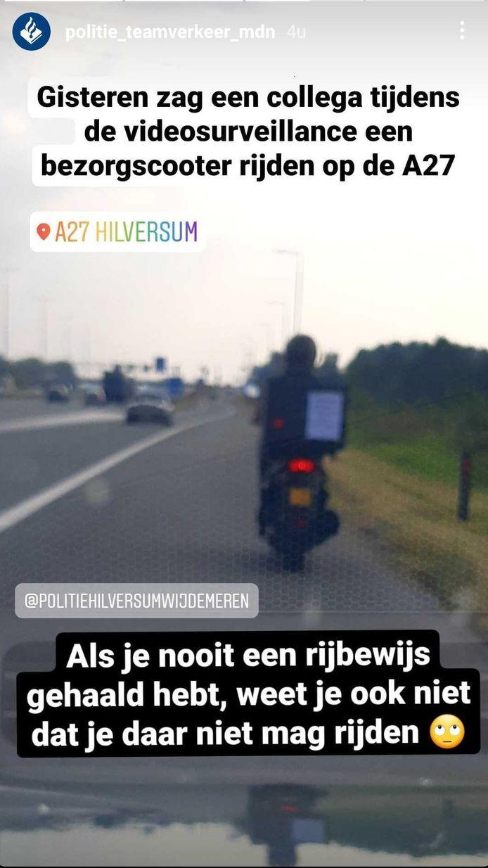 Politie Team Verkeer Midden-Nederland deelde het bericht vrijdagochtend op hun Instagram.