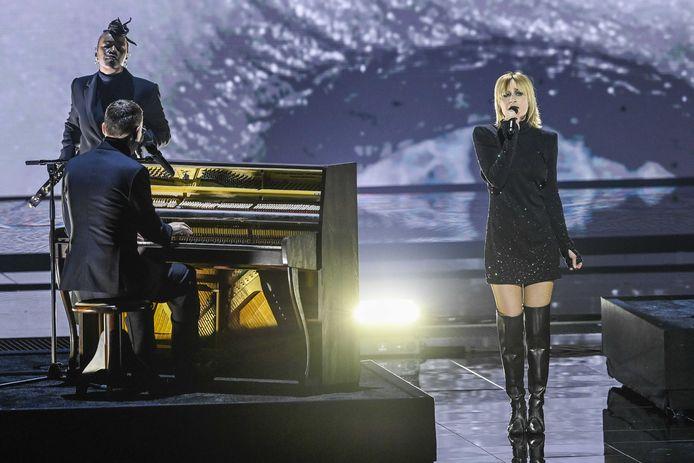 Hooverphonic tijdens de tweede repetitie van de eerste halve finale van het Eurovisiesongfestival.