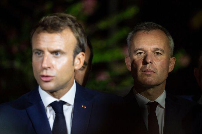 Le président Emmanuel Macron avec son désormais ex-ministre de la Transition écologique François de Rugy.
