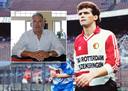 Sjaak Troost betreedt in 1991 als speler van Feyenoord de (lege) Kuip voor een duel met FC Utrecht. Inzet: Sjaak Troost nu.