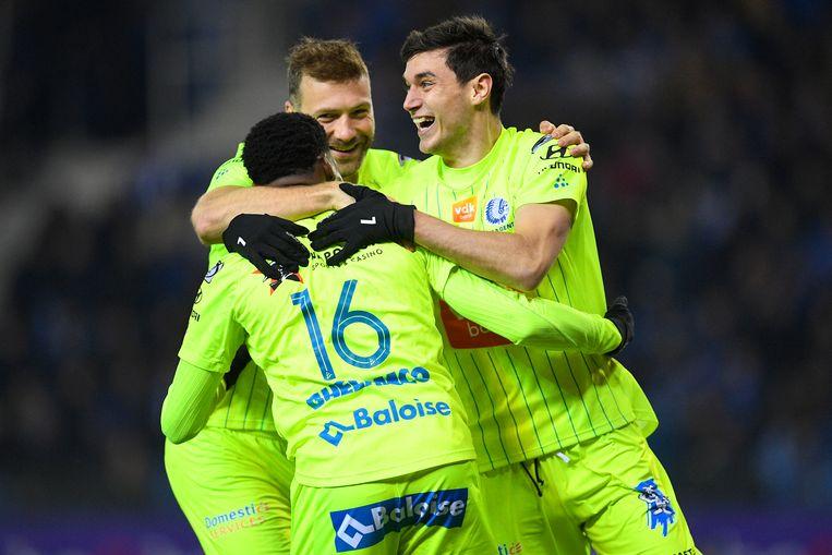 De gouden driehoek van Gent met Depoitre, Jaremtsjoek en David zorgde andermaal voor de doelpunten. Beeld BELGA