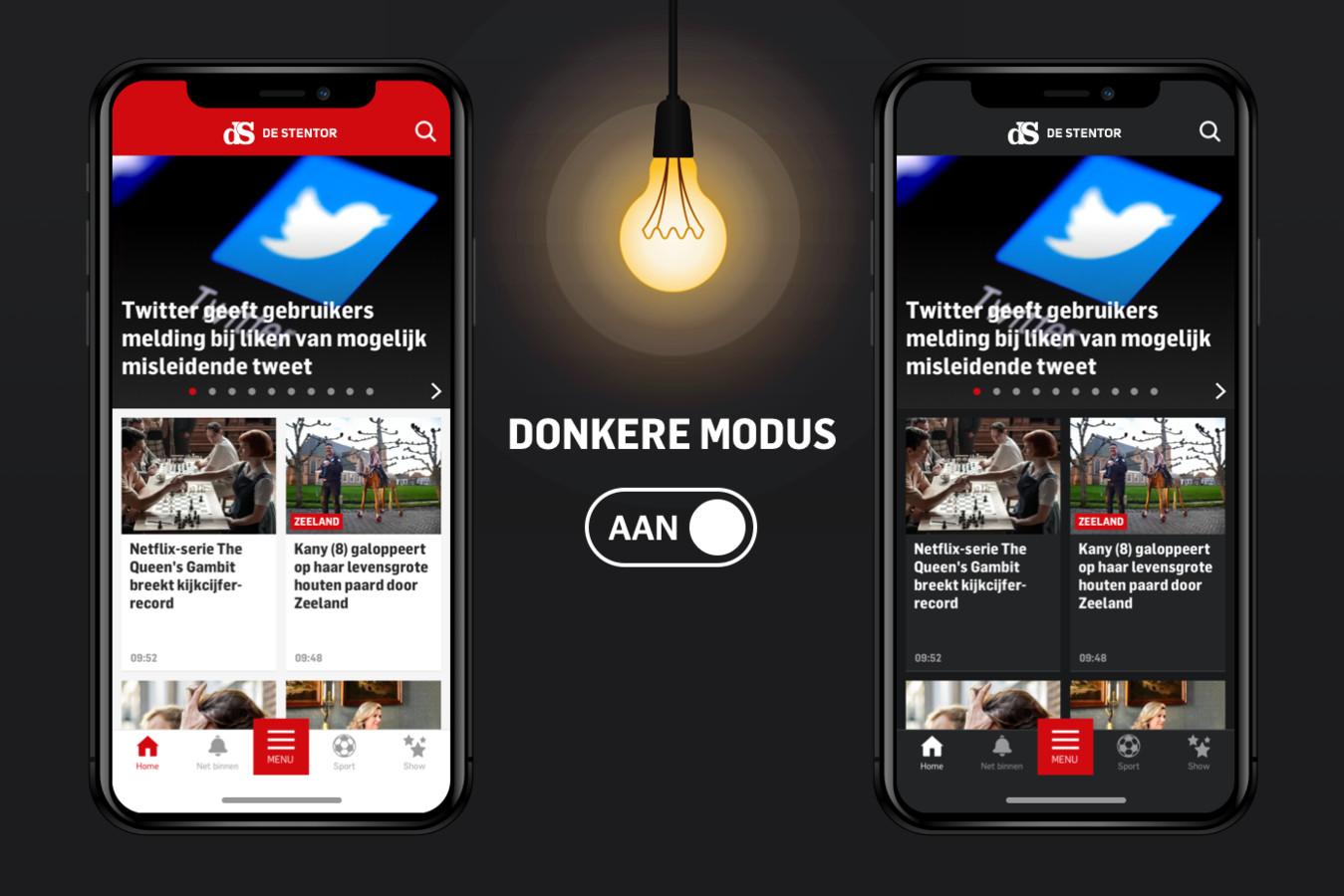 Dark Mode in de Stentor-app