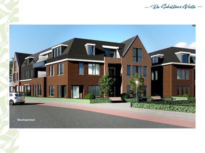 Impressie van het appartementencomplex gezien vanaf de Bisschopstraat.