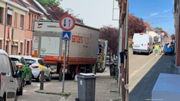 Vrachtverkeer in de Hertoginstraat in Turnhout