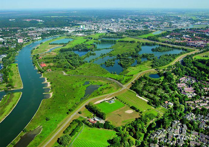 Het gebied in Meinerswijk waar natuur in eigendom van projectontwikkelaar Kondor Wessels deels is overgedragen aan de gemeente Arnhem.