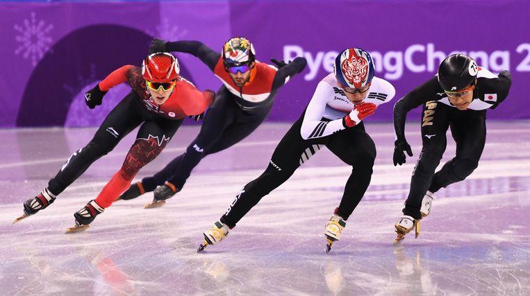 Shorttracker Daan Breeuwsma had geen woorden voor zijn fatale misser in de halve finale op de olympische aflossing. Beeld Getty Images