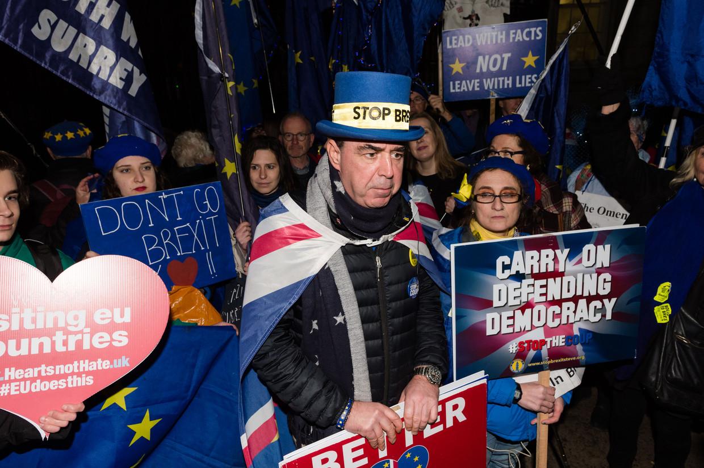 Tegenstanders van Brexit tijdens een protest bij Downing Street 10 afgelopen week. Beeld Barcroft Media via Getty Images