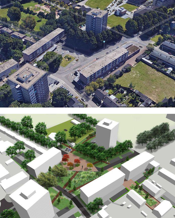 Een beeld van het oude Fazantplein, met nog de vroegere bebouwing, en hoe het gaat worden. Er komt 3600 vierkante meter meer groen.