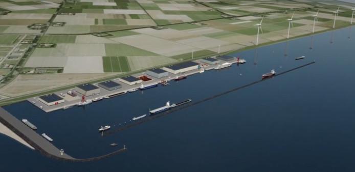 Financieel staat Urk er goed voor. De economie moet de komende jaren een nieuwe impuls krijgen door een nieuwe buitendijkse haven en achterliggend industrieterrein (artist impression).