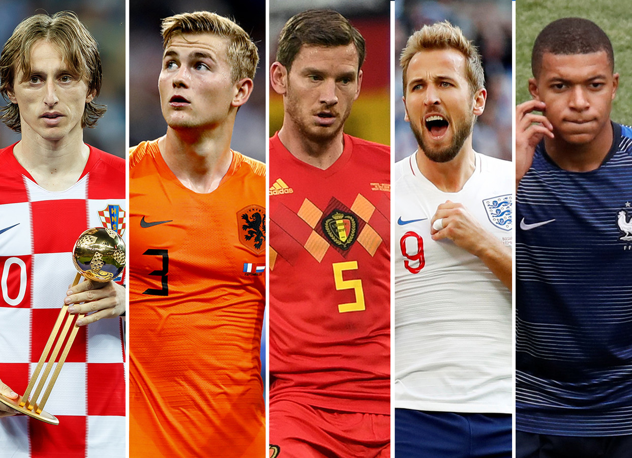 Vlnr: Luka Modric, Matthijs de Ligt, Jan Vertonghen, Harry Kane en Kylian Mpbappé.