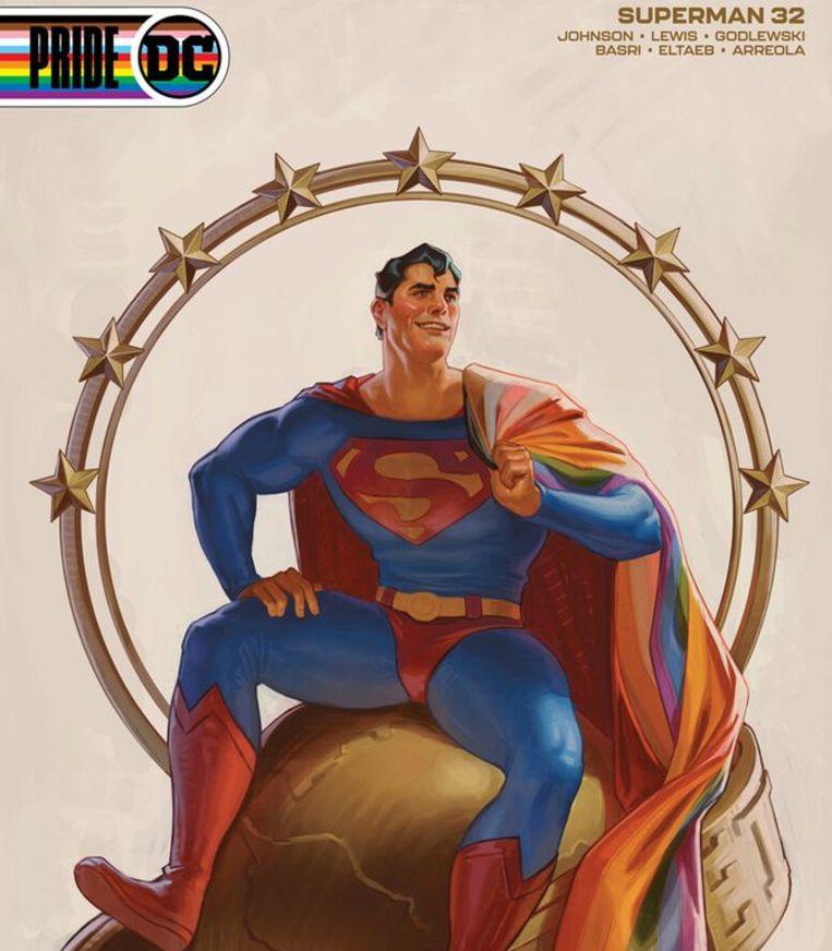 Superman met een regenboogcape steunt Pride Month in de Verenigde Staten. Beeld DC Comics