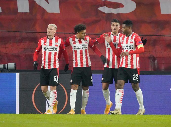 Philipp Max, Doneyll Malen, Joël Piroe en Denzel Dumfries.