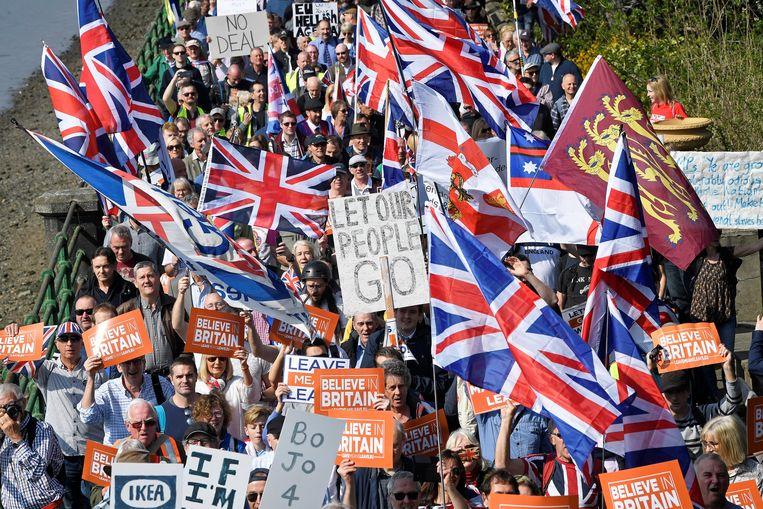 Pro-brexit-demonstranten in Londen. Beeld REUTERS
