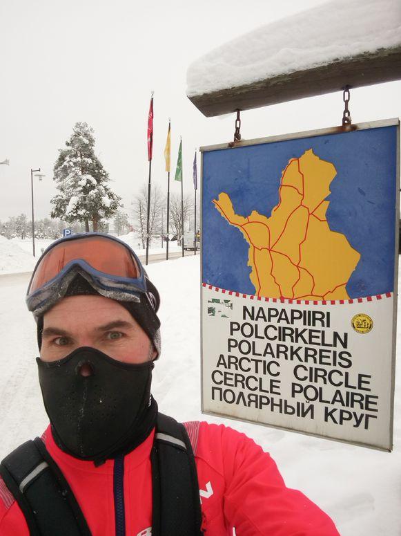 Jan Gevers op de marathon van Antarctica.