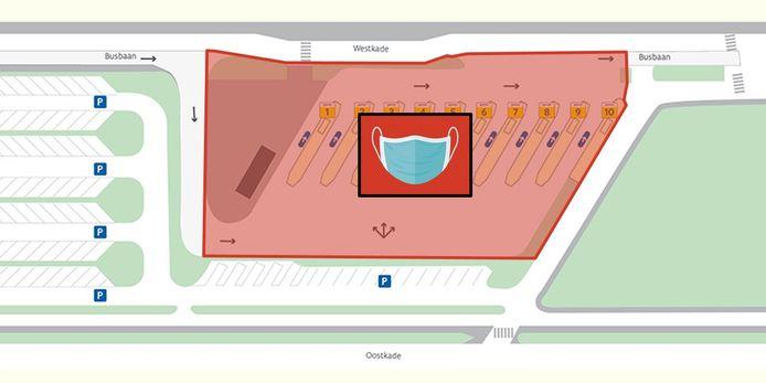In de rode zone is het verplicht een mondmasker te dragen op het busplein.