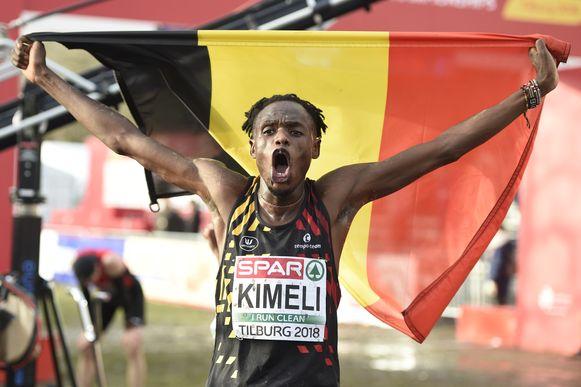 Een vreugdekreet bij Isaac Kimeli na zijn zilveren medaille in Tilburg.