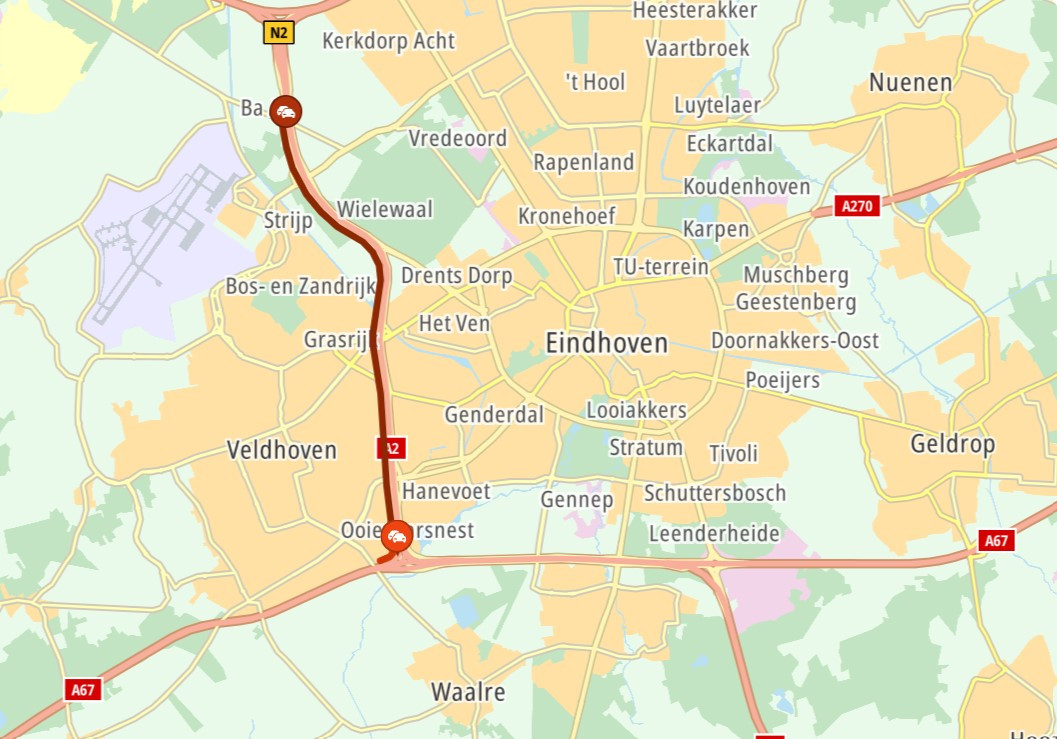 Rond 11.00 uur ontstond er vertraging op de snelweg na een ongeluk bij knooppunt De Hogt.