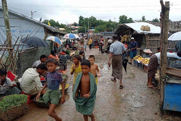 Rohingya in een vluchtelingenkamp in Bangladesh.