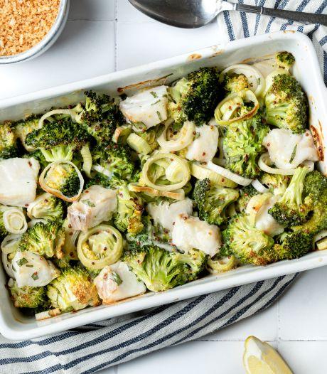 Wat Eten We Vandaag: Romige visschotel met prei en broccoli