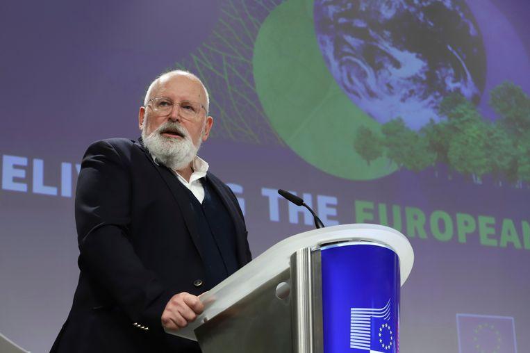 'Klimaatpaus' Frans Timmermans presenteerde het omvangrijke klimaatplan 'Fit for 55'.  Beeld AP