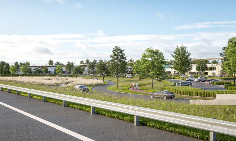 Impressie van het retailpark in 'de lus' in Mechelen-Noord