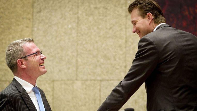 SGP-Tweede Kamerlid Elbert Dijkgraaf (L) en staatssecretaris van Onderwijs Halbe Zijlstra. Beeld anp