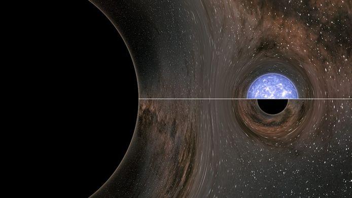 Botsing tussen een zwart gat (links) en... ja, wat eigenlijk? In deze computertekening de twee aannemelijkste opties: een neutronenster (boven de streep) en een klein zwart gat (onder de streep).