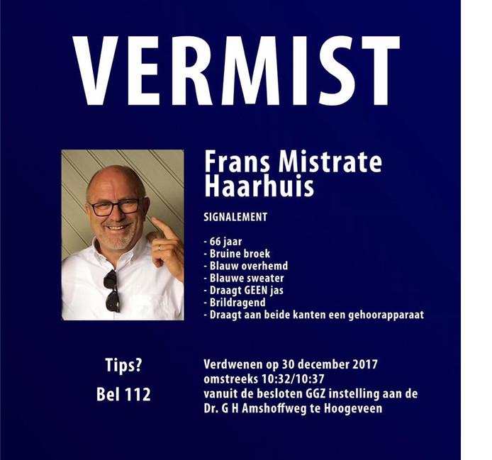 De flyer die de familie van de vermiste Frans Mistrate Haarhuis maakte voor zijn opsporing