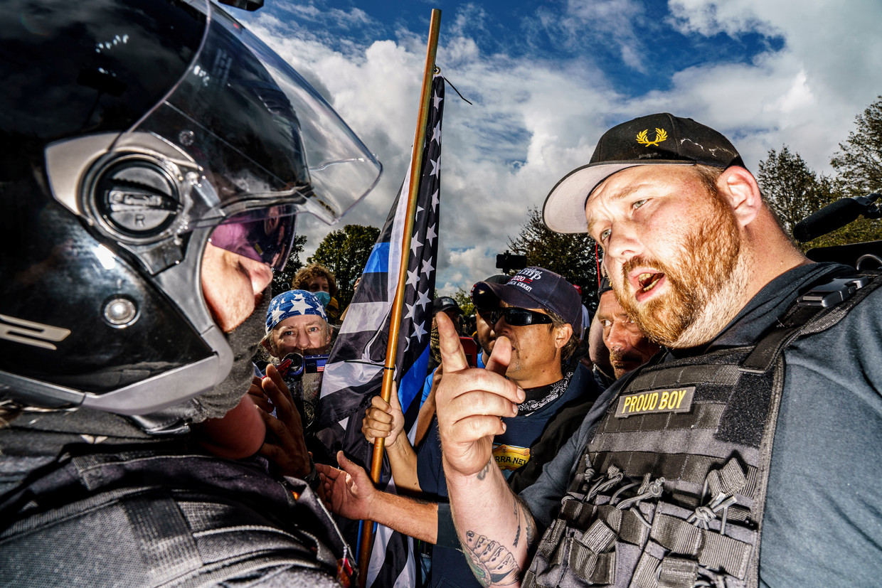 Demonstrerende extreemrechtse Proud Boys in Portland, Oregon. Beeld Mark Peterson/Redux